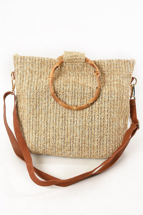 Straw Bamboo Handle Bag