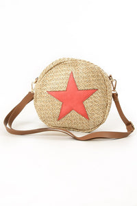 Straw Crossbody Circle Star Bag In Coral