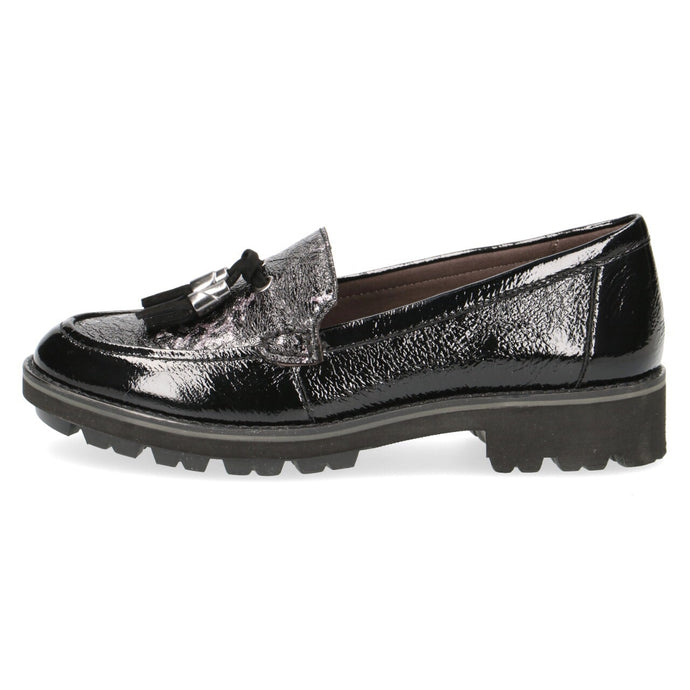 Caprice Black Leather Leopard Loafer