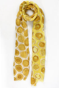 Mustard and Citrus Polka Dot Scarf