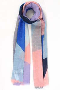 Coral and Cobalt Colour Block Scarf