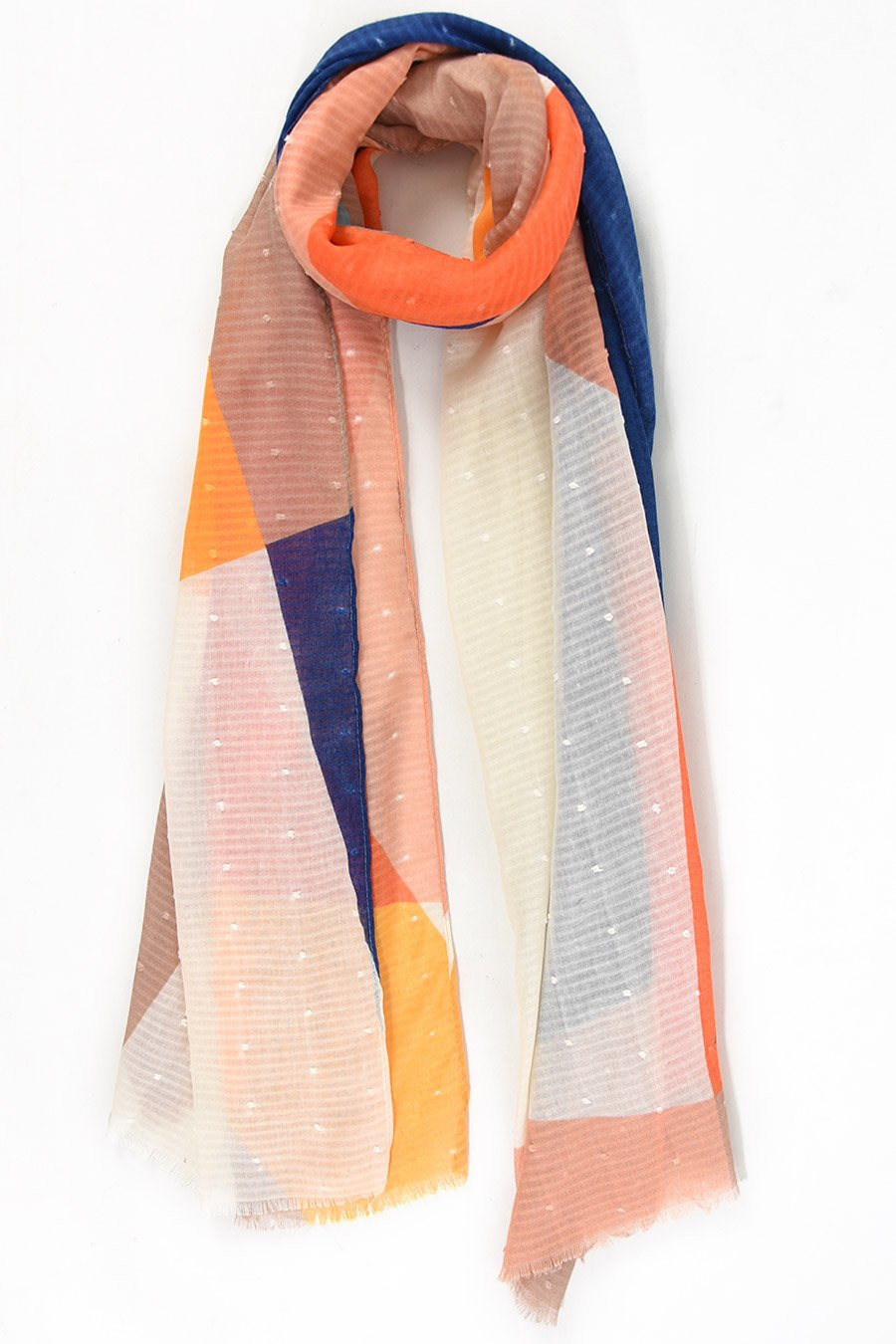 Cobalt and Tangerine Colour Block Scarf