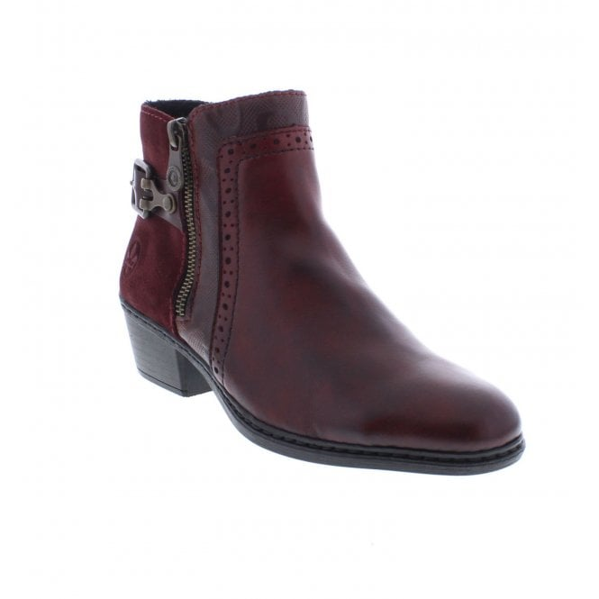 Rieker Red Zip Ankle Boots