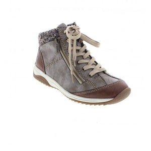 Rieker Brown Zip And Lace Boot
