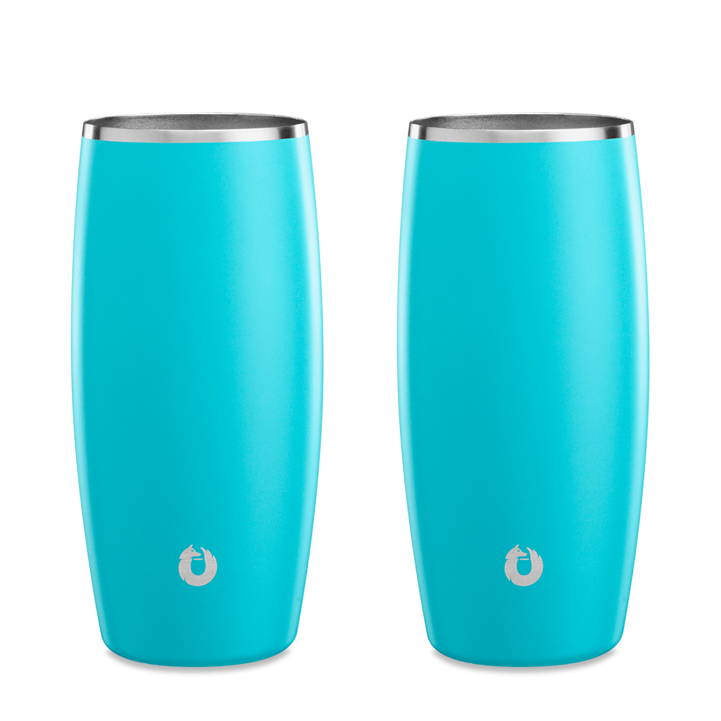 Stainless Steel Beer Glass in Teal - Set of 2