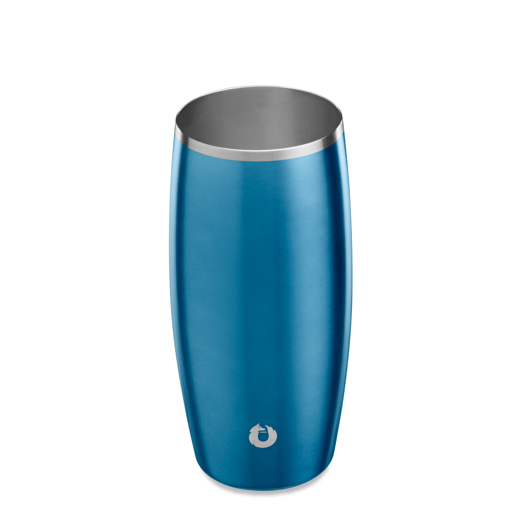 Stainless Steel Beer Glass in Soft Blue - Top View