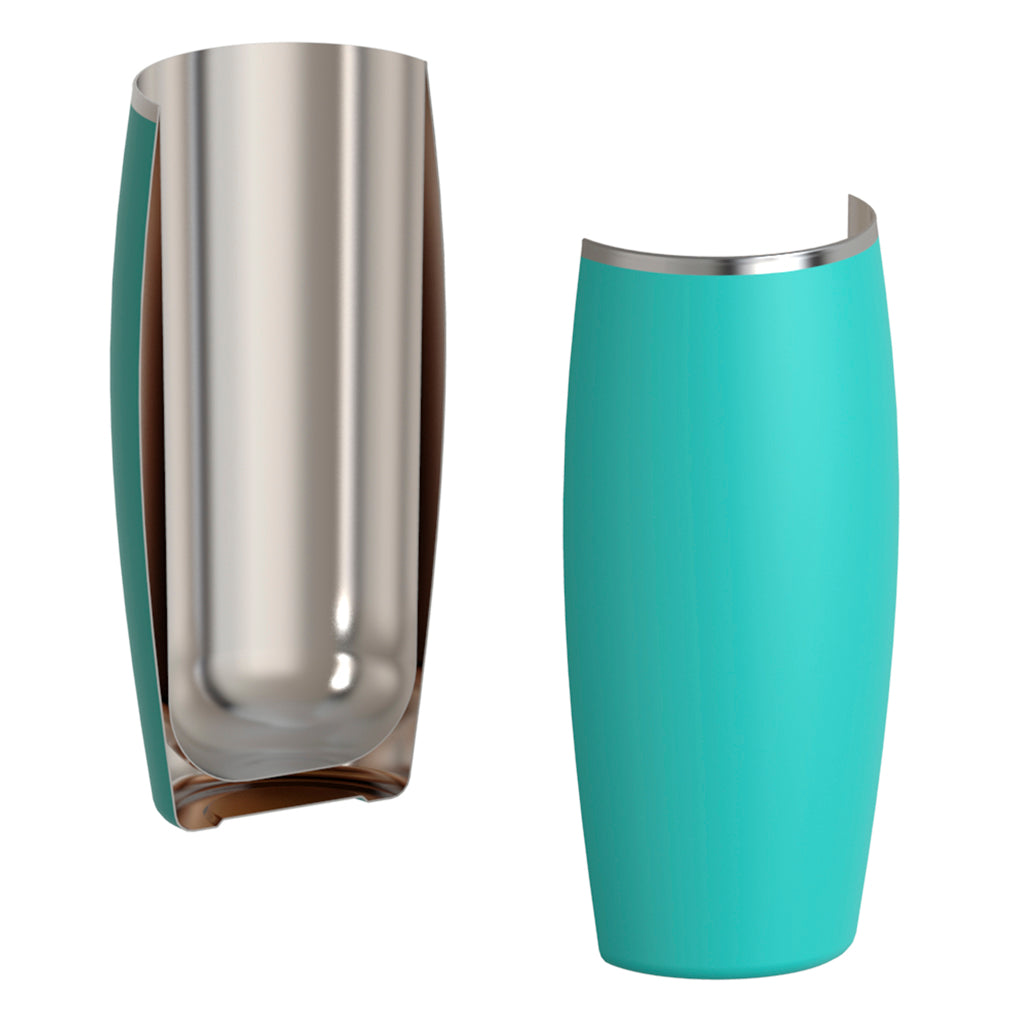 Double-walled insulated stainless steel keeps beer cold and tasting great.