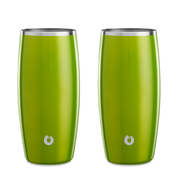 Stainless Steel Beer Glass in Metallic Green - Set of 2