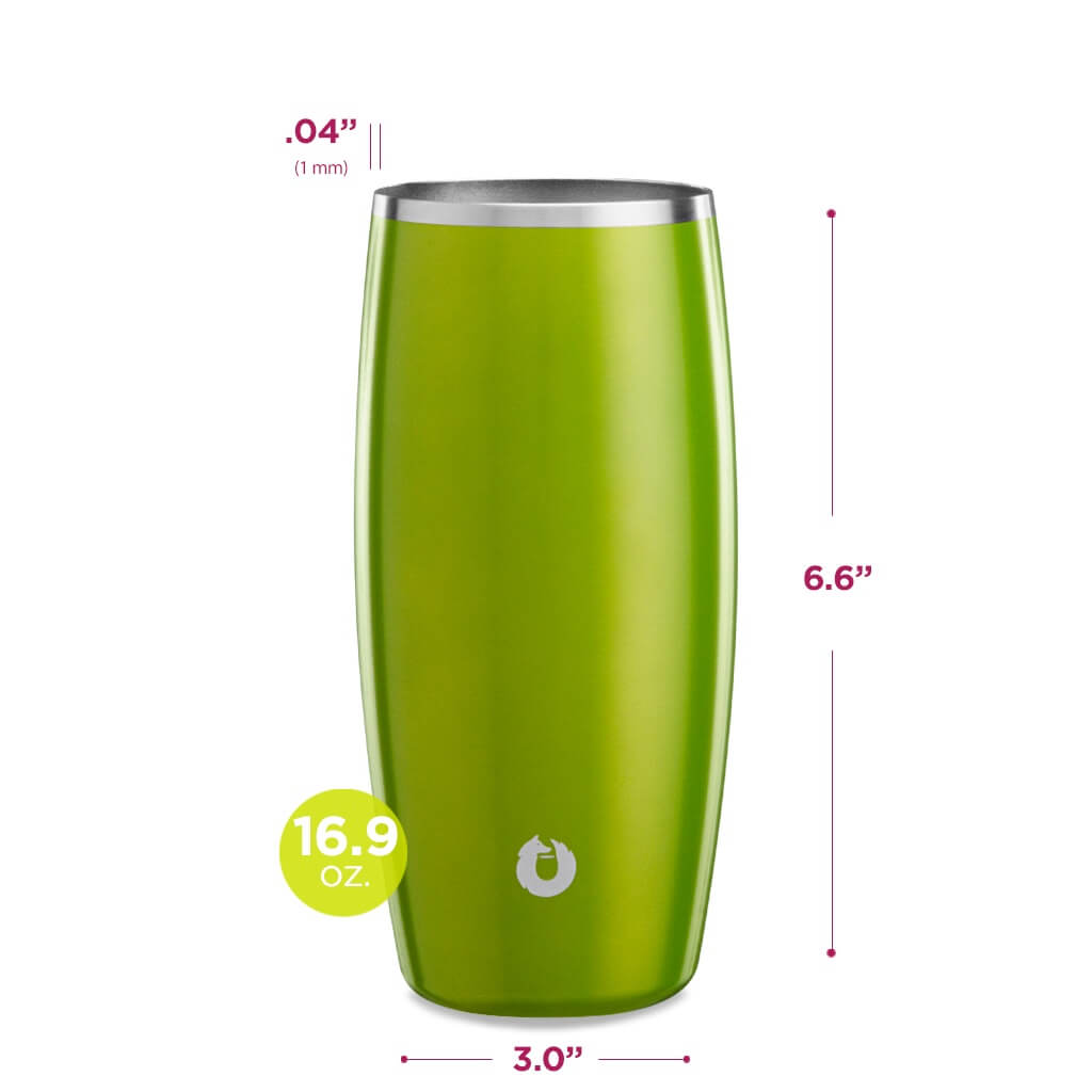 Stainless Steel Beer Glass in Metallic Green - Dimensions