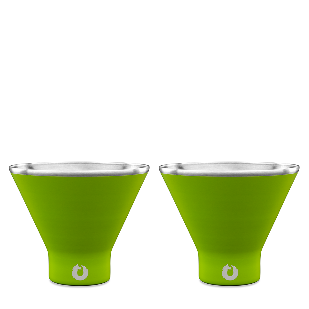 Stainless Steel Martini Glass in Lime - Set of 2