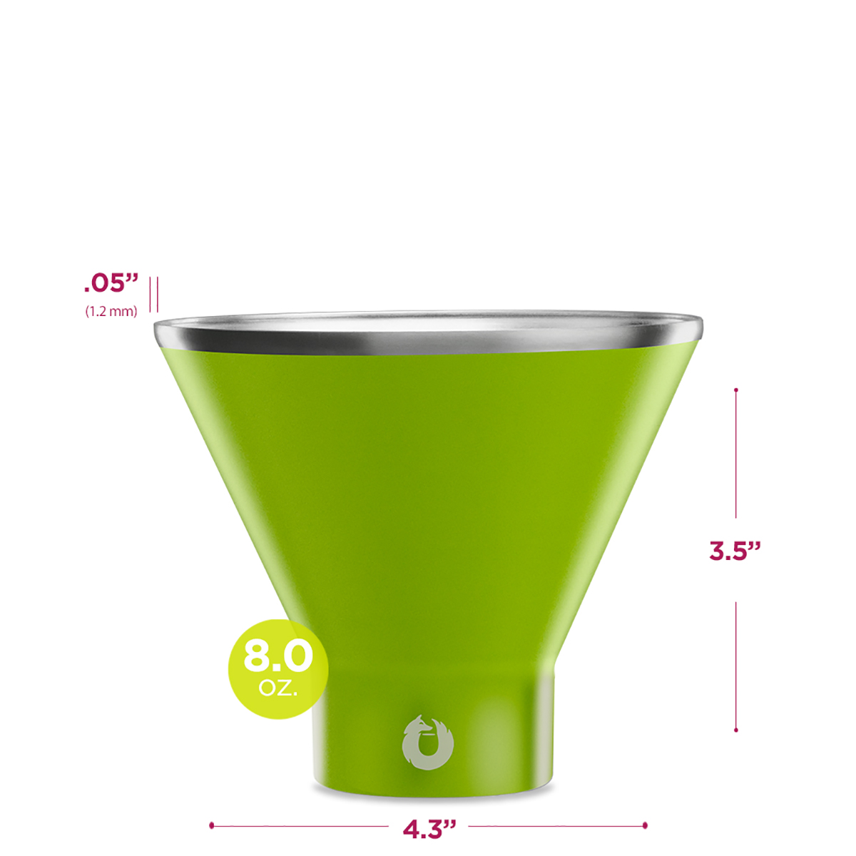Stainless Steel Martini Glass in Lime - Dimensions