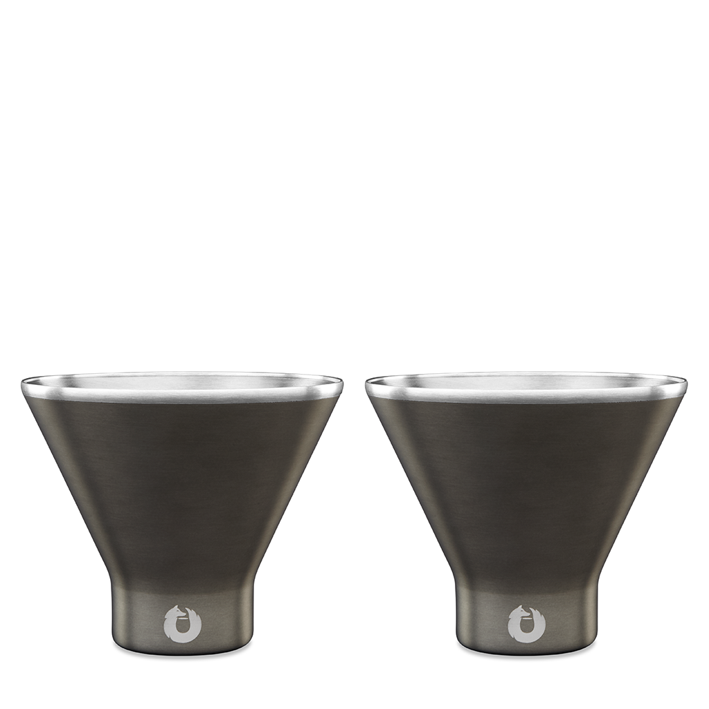 Stainless Steel Martini Glass in Olive Grey - Set of 2