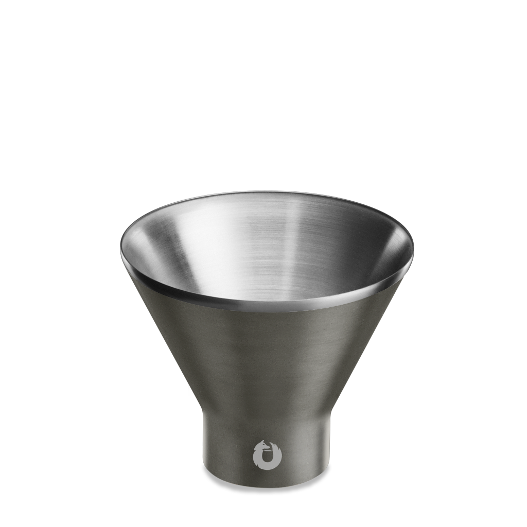 Stainless Steel Martini Glass in Olive Grey - Top View