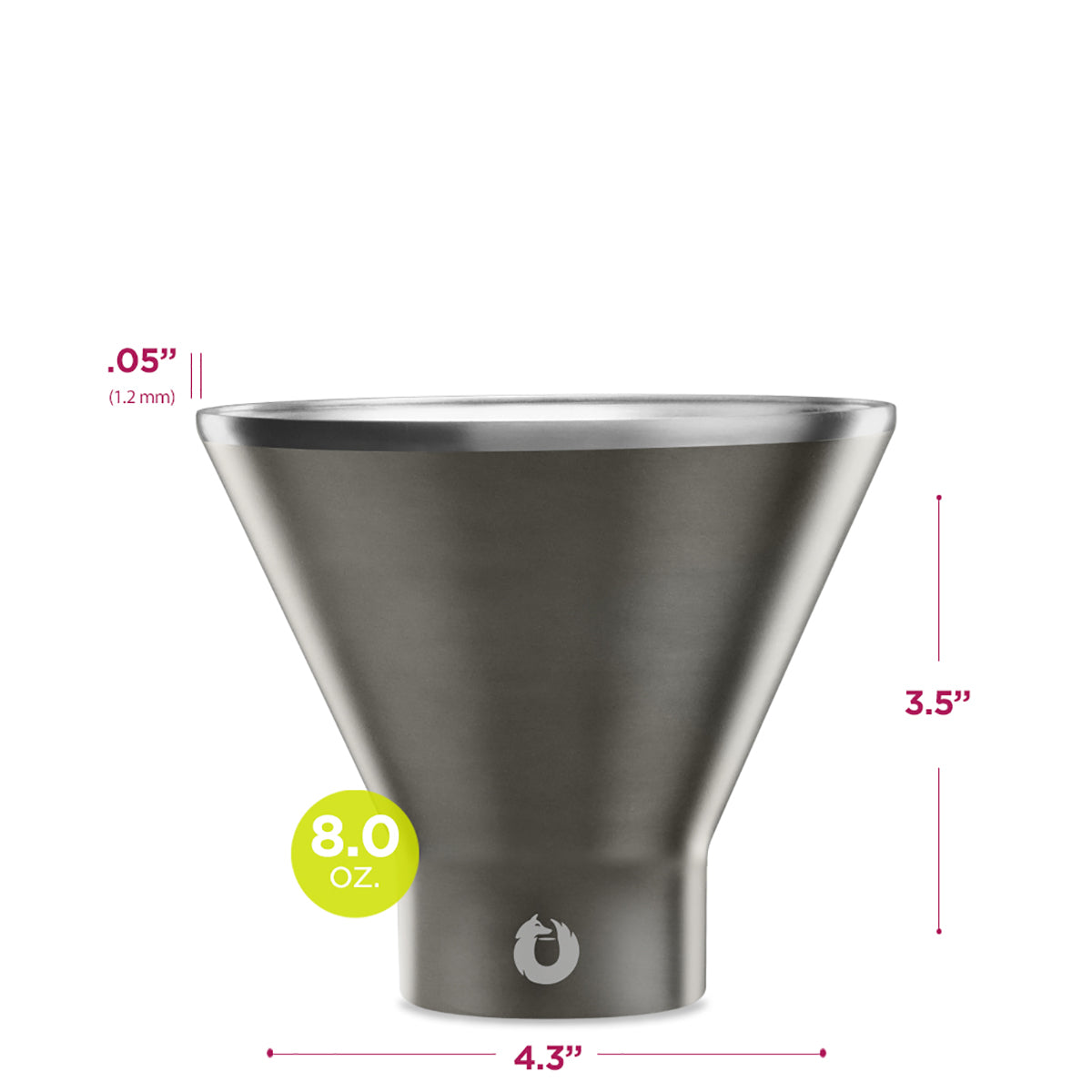Stainless Steel Martini Glass in Olive Grey - Dimensions
