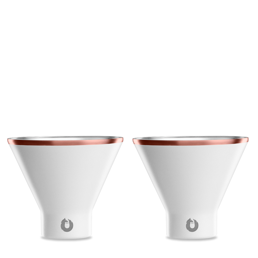 Stainless Steel Martini Glass in White - Set of 2
