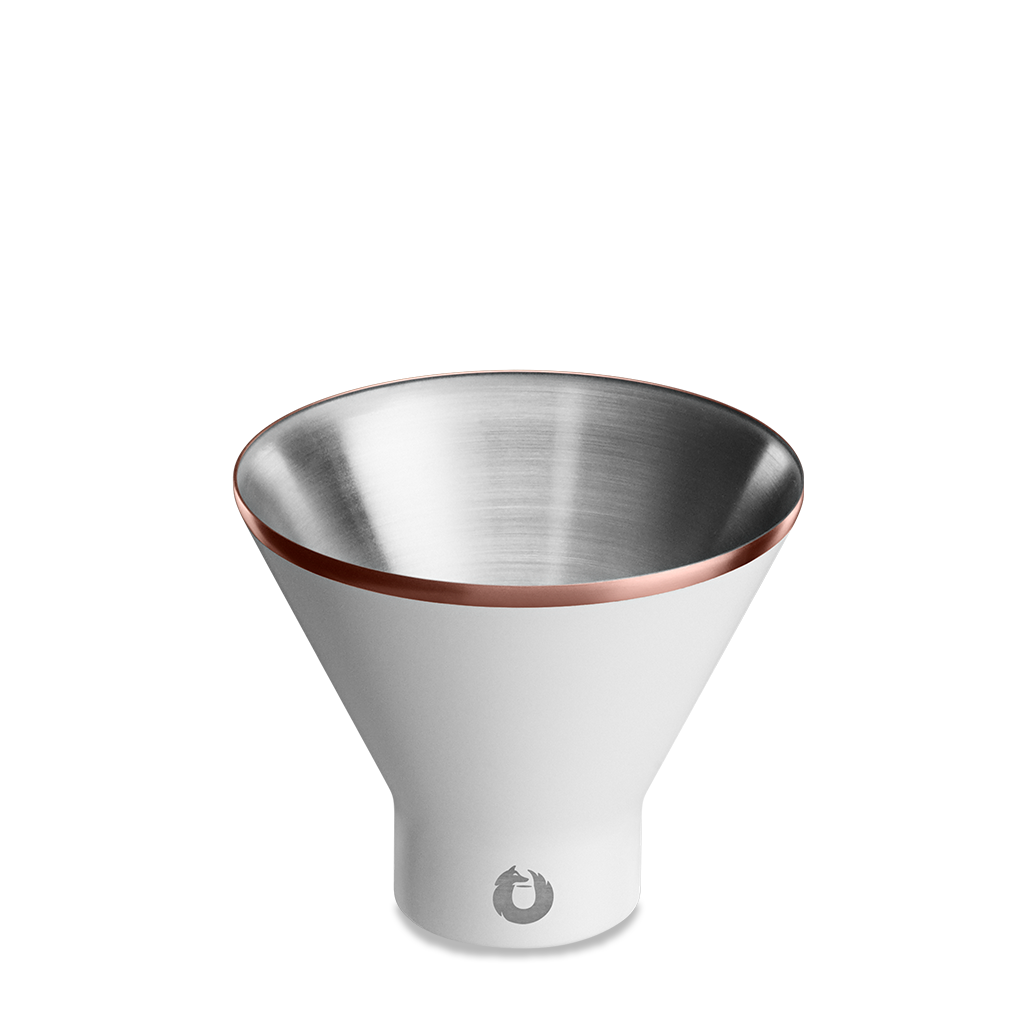 Stainless Steel Martini Glass in White - Top View