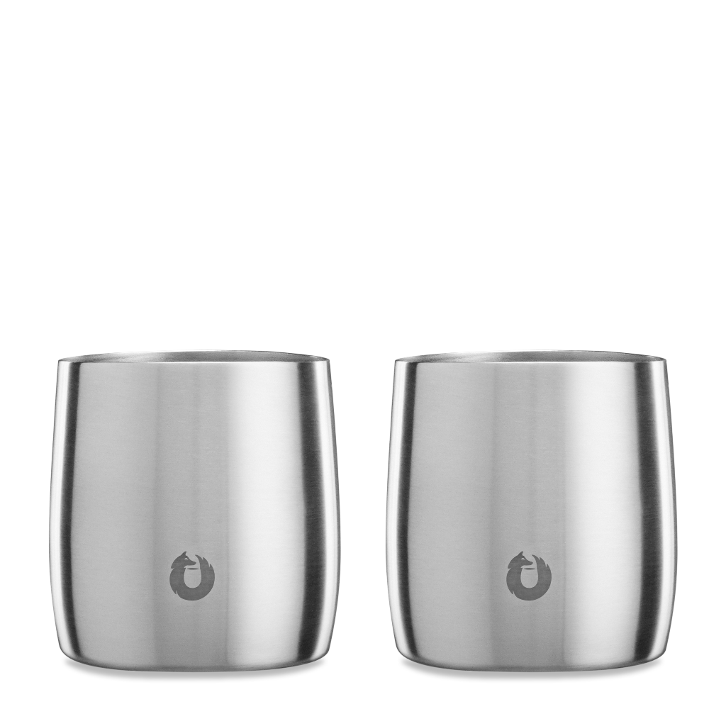 Stainless Steel Rocks Glass in Steel - Set of 2