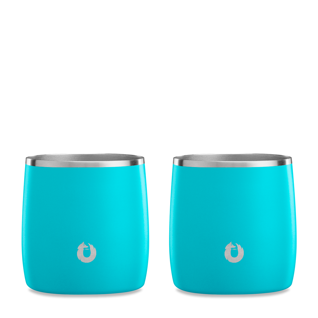 Stainless Steel Rocks Glass in Teal - Set of 2