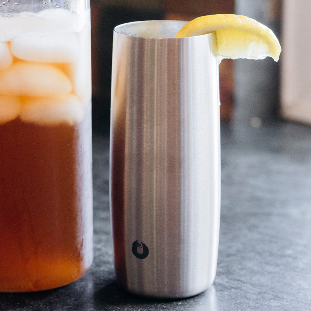 No sweat, no mess stainless steel Snowfox drinking glass keeps your water cold and your iced tea's tasting great all day.