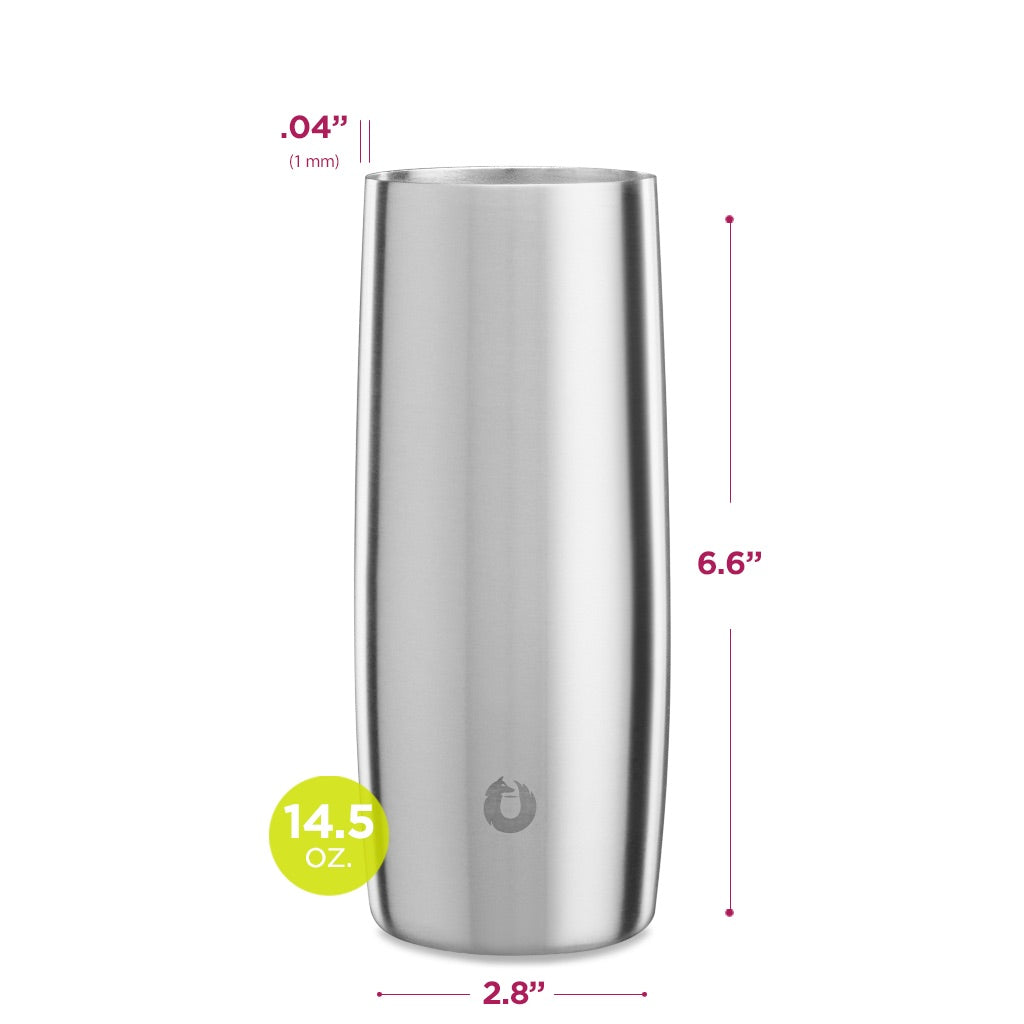 Stainless Steel Highball Glass in Steel- Dimensions