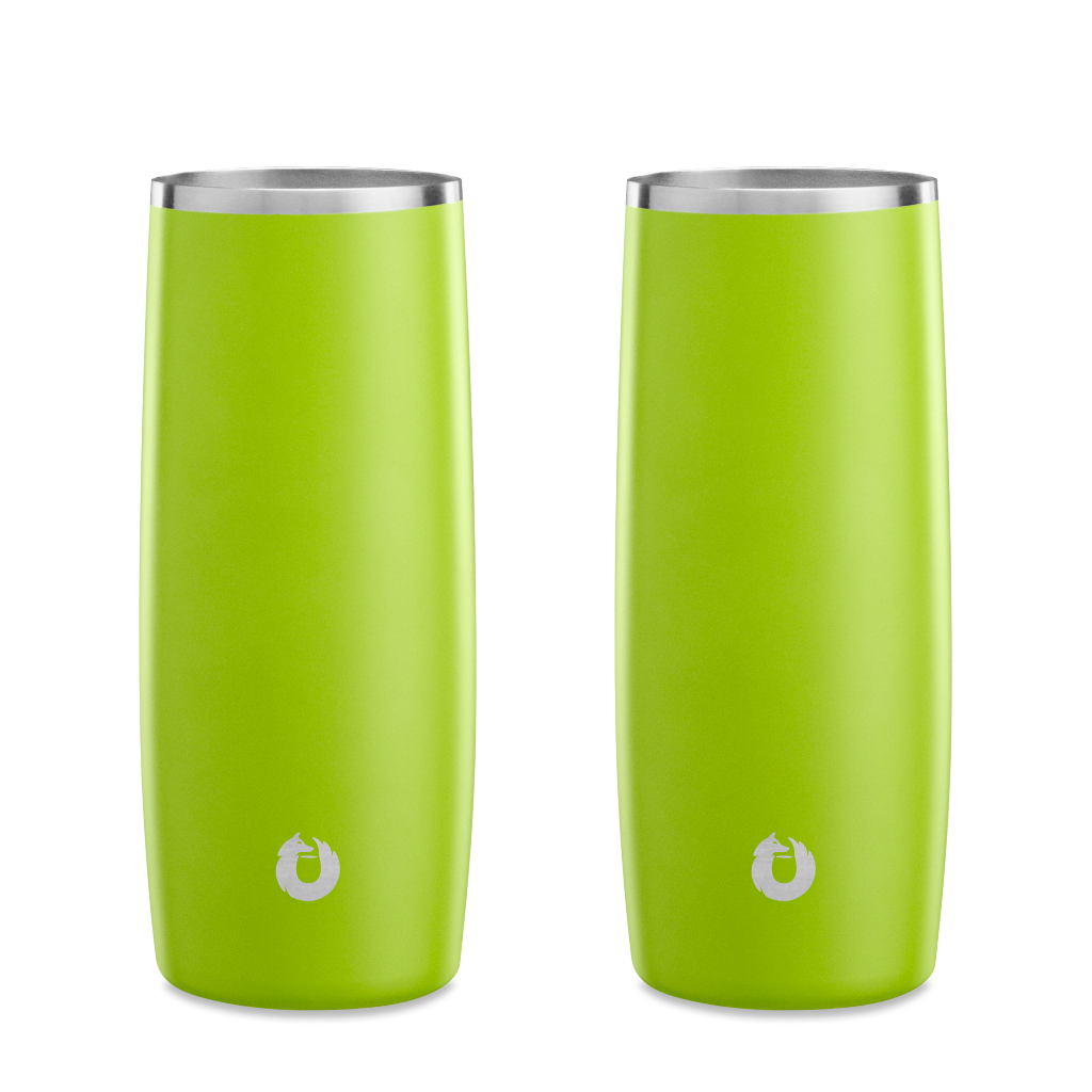 Stainless Steel Highball Glass in Lime- Set of 2