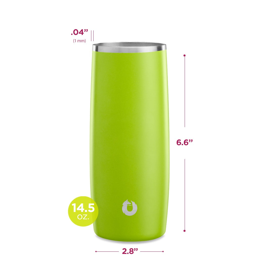 Stainless Steel Highball Glass in Lime- Dimensions