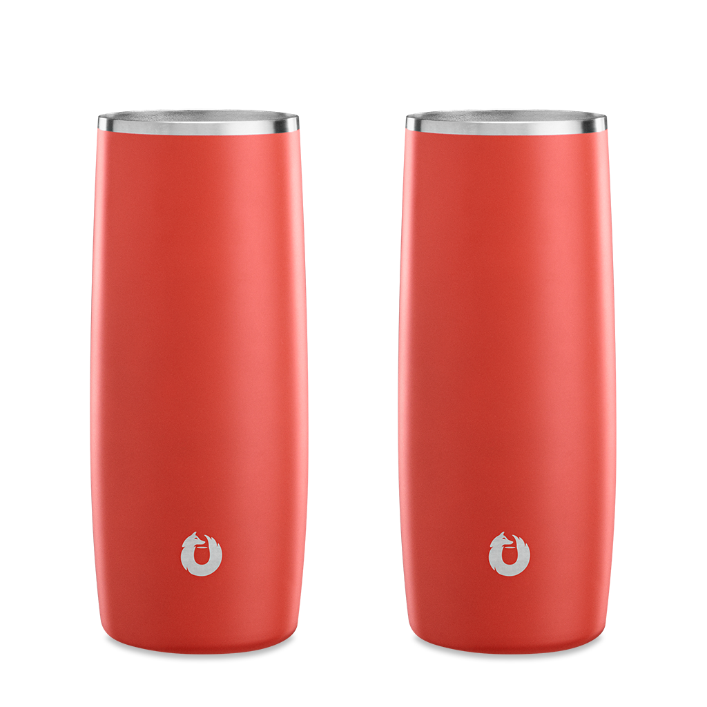 Stainless Steel Highball Glass in Coral - Set of 2