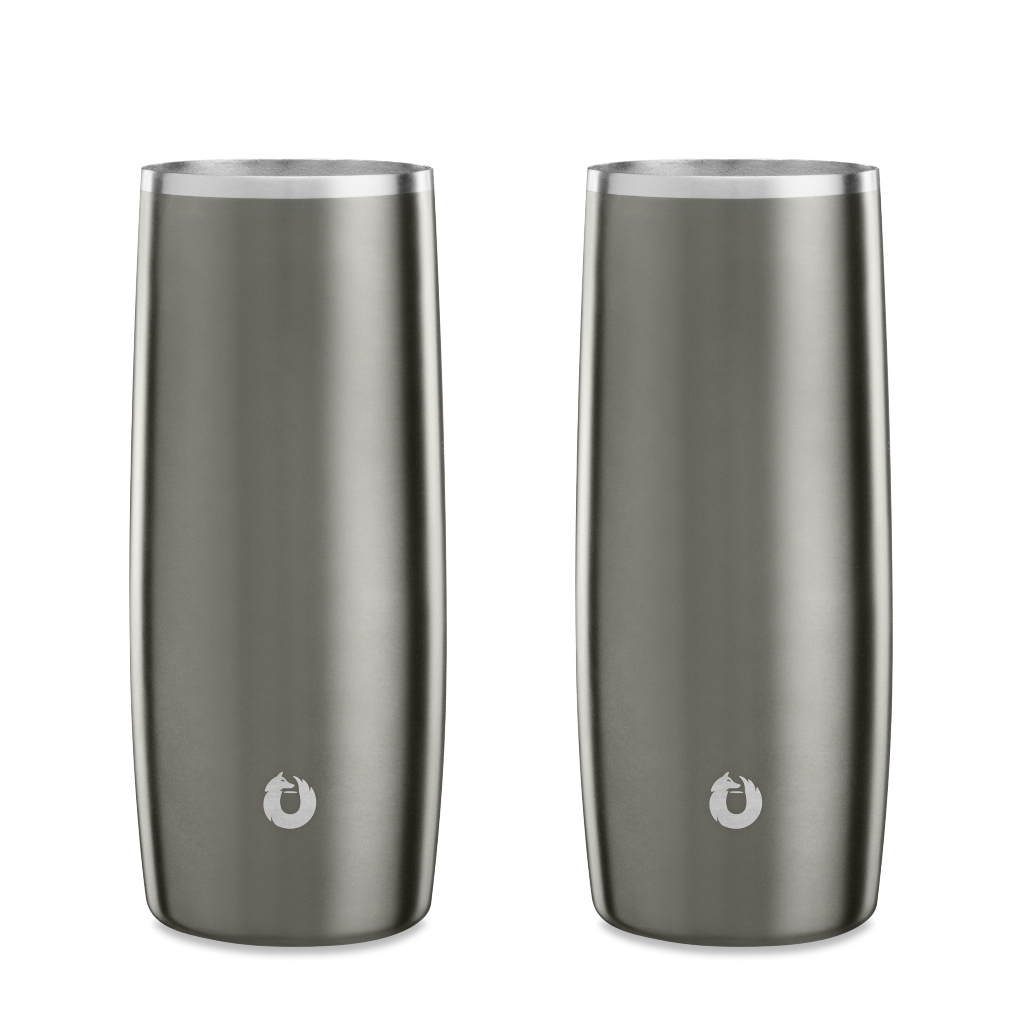 Stainless Steel Highball Glass in Olive Grey - Set of 2
