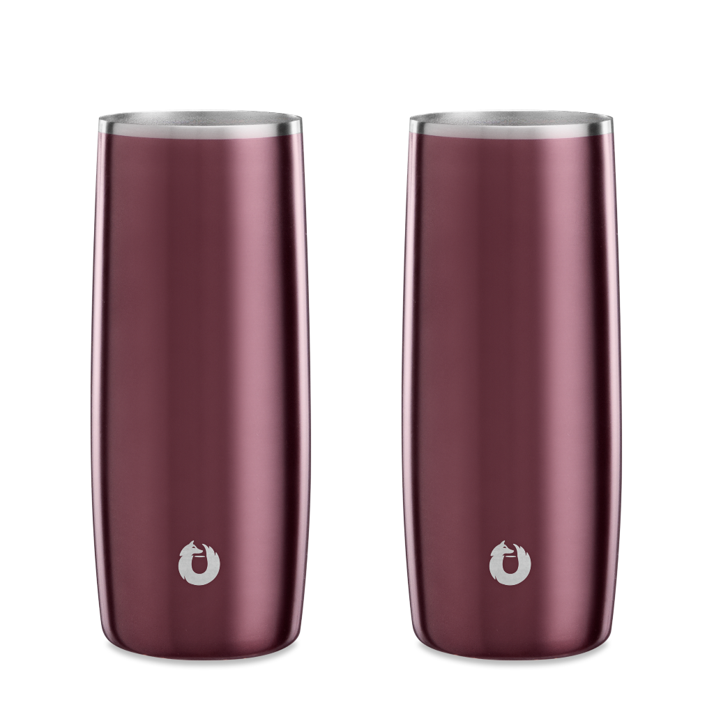 Stainless Steel Highball Glass in Dark Rose - Set of 2