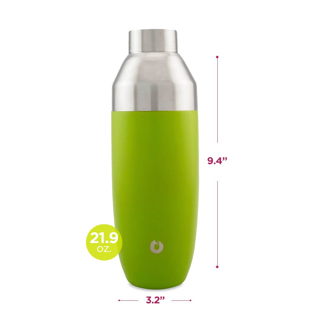 Stainless Steel Cocktail Shaker in Lime - Dimensions