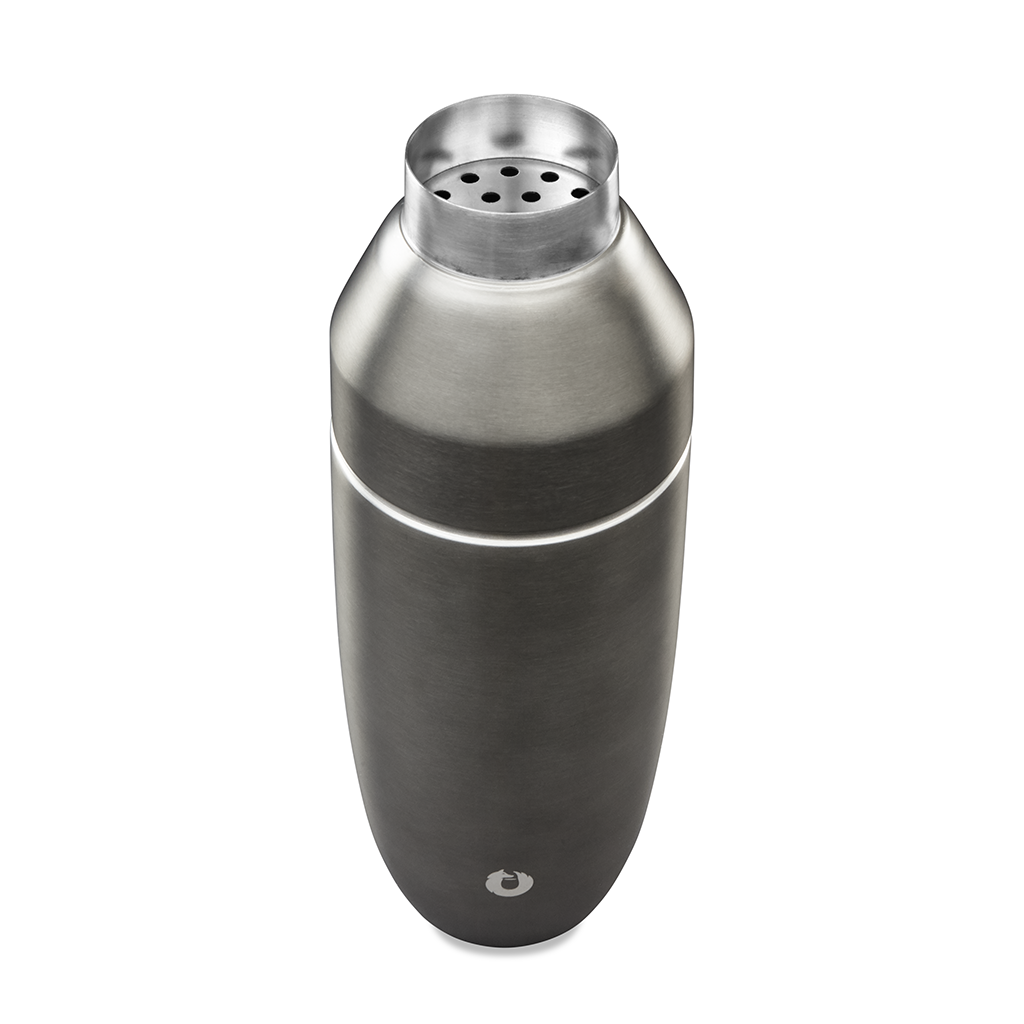 Stainless Steel Cocktail Shaker in Olive Grey - Top View