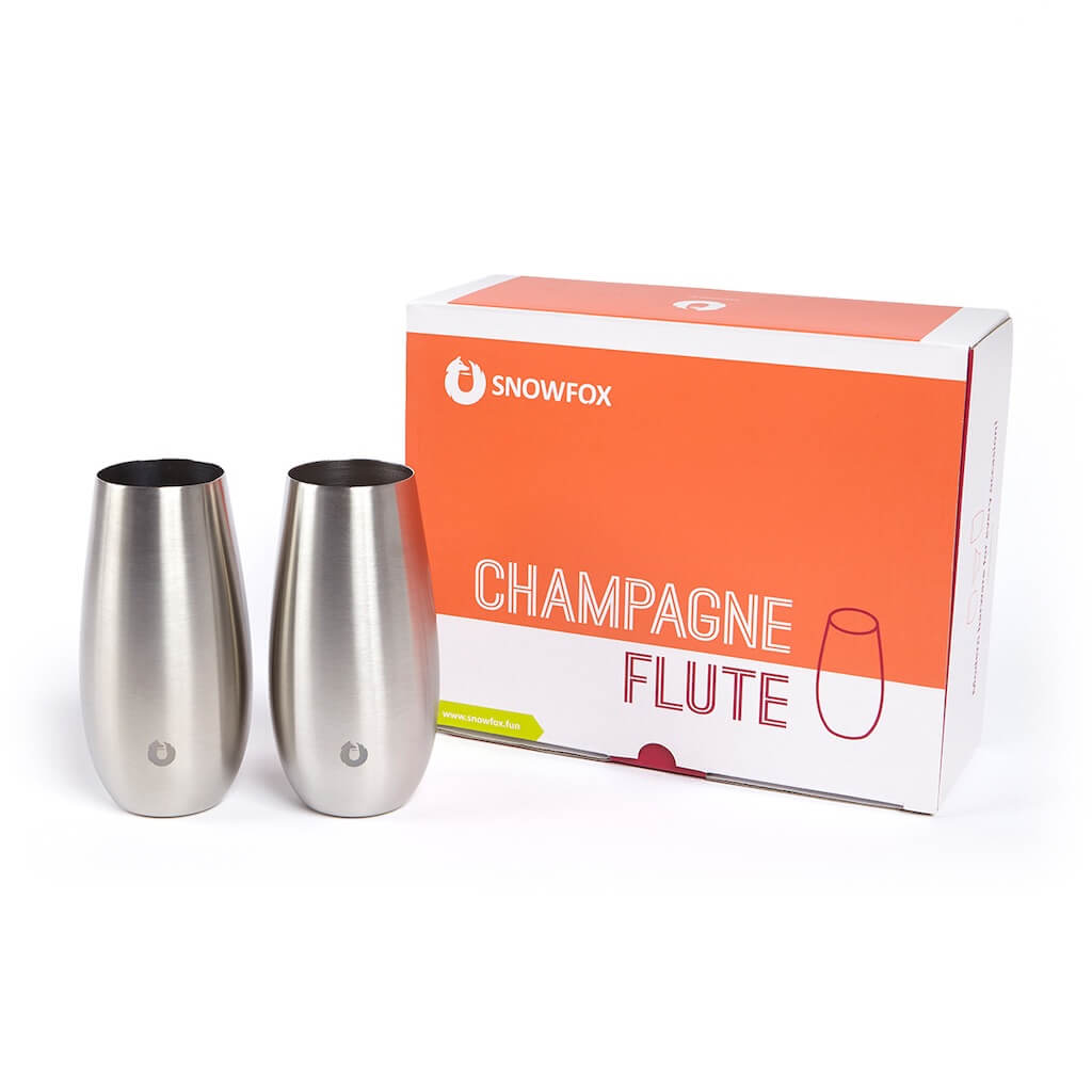 Stainless Steel Champagne Flute in White and Gold - Gift Box