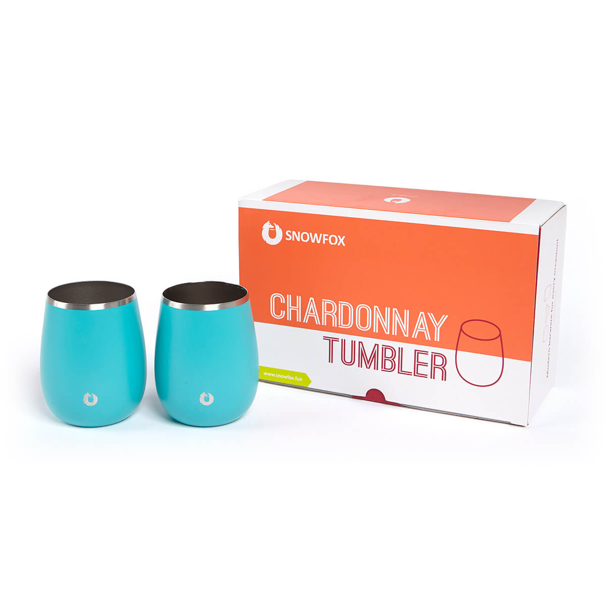 Stainless Steel Chardonnay Wine Glass in Teal - Gift Box