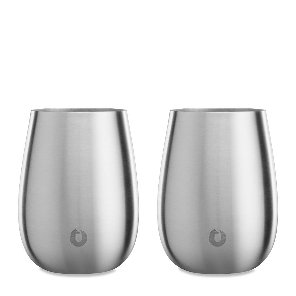 Stainless Steel Pinot Noir Wine Glass in Steel - Set of 2