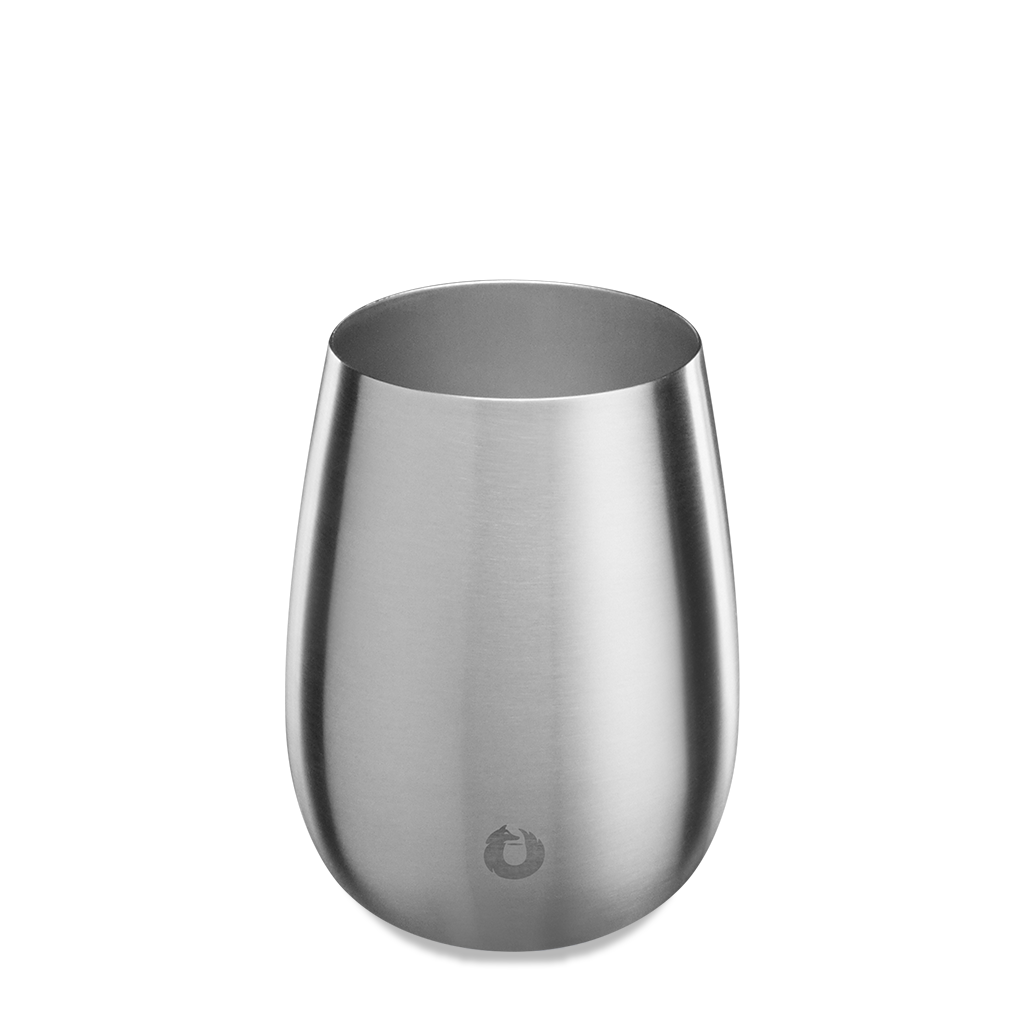 Stainless Steel Pinot Noir Wine Glass in Steel - Top View
