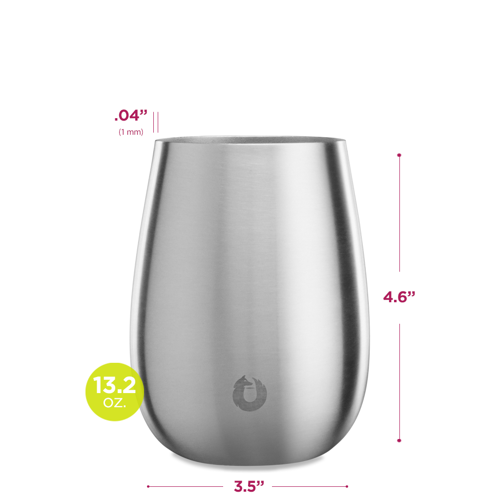 Stainless Steel Pinot Noir Wine Glass in Steel - Dimensions