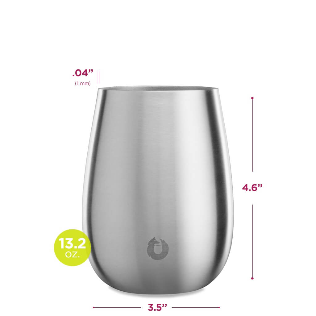Stainless Steel Sauvignon Blanc Wine Glass in Steel - Dimensions
