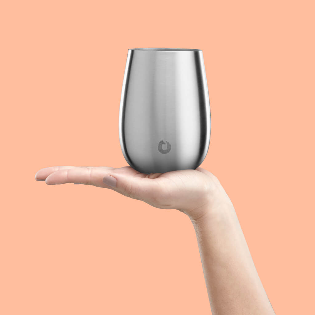 Stainless Steel Pinot Noir Wine Glass in Steel - Perfect Fit