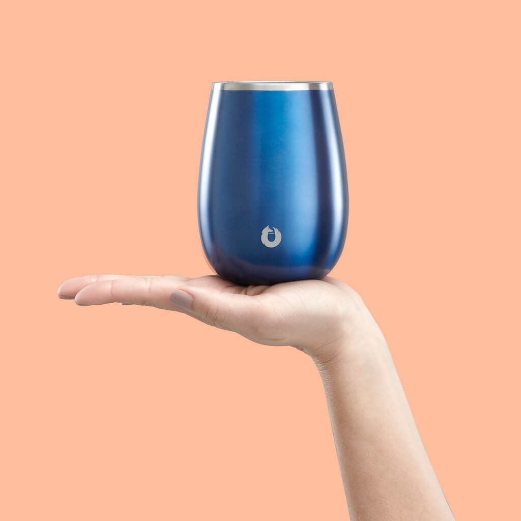 Stainless Steel Pinot Noir Wine Glass in Navy Blue - Perfect Fit
