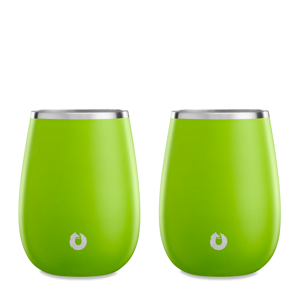 Stainless Steel Pinot Noir Wine Glass in Lime - Set of 2