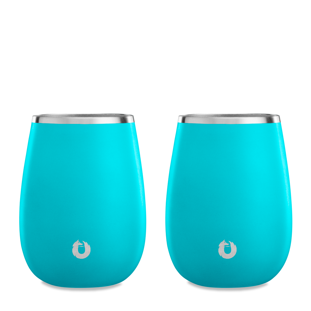 Stainless Steel Pinot Noir Wine Glass in Teal - Set of 2