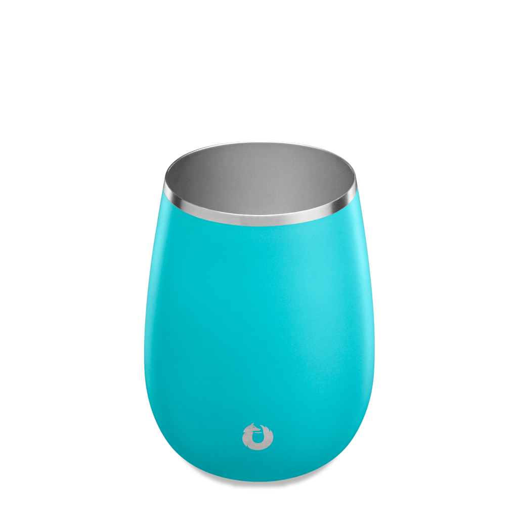 Stainless Steel Pinot Noir Wine Glass in Teal - Top View