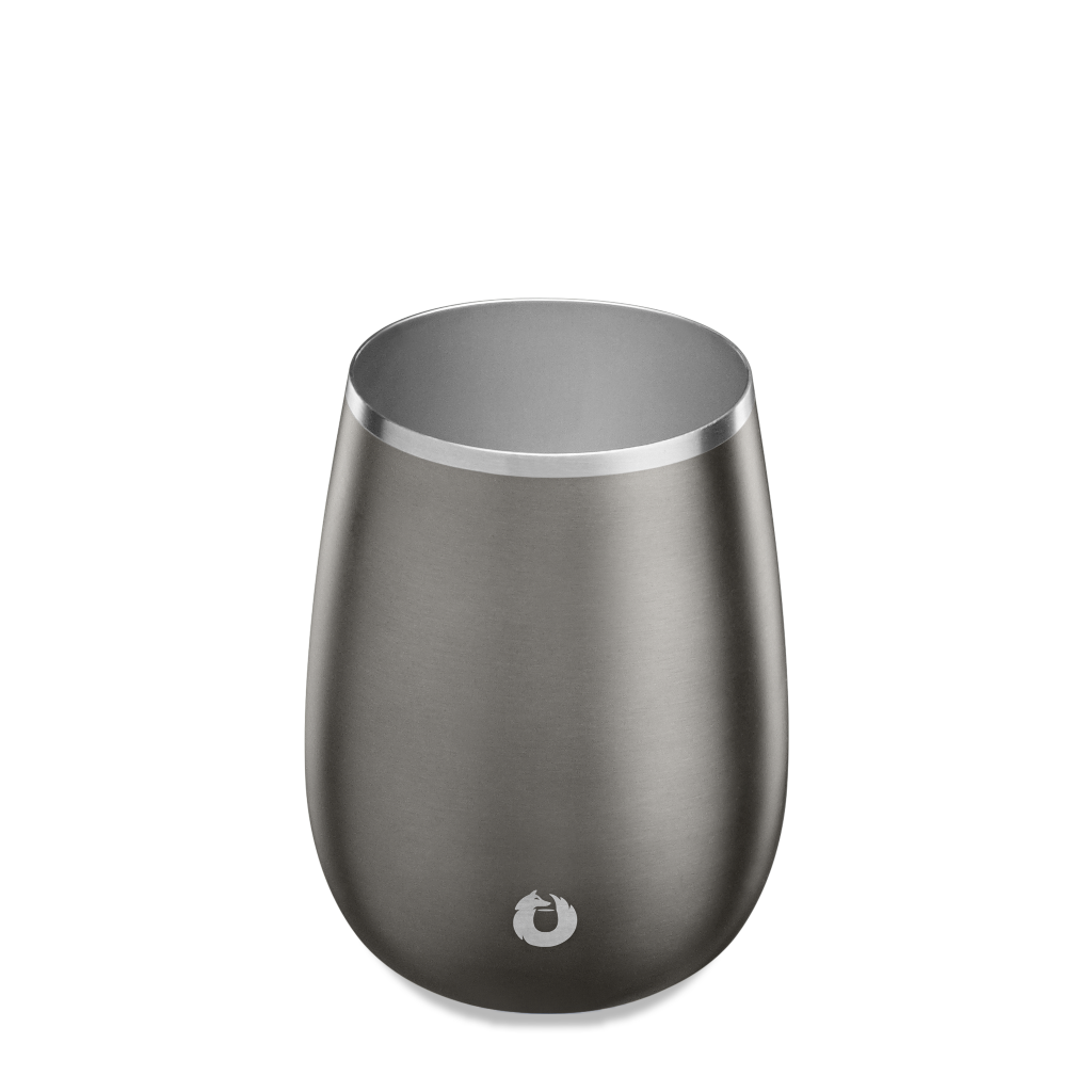Stainless Steel Pinot Noir Wine Glass in Olive Grey - Top View