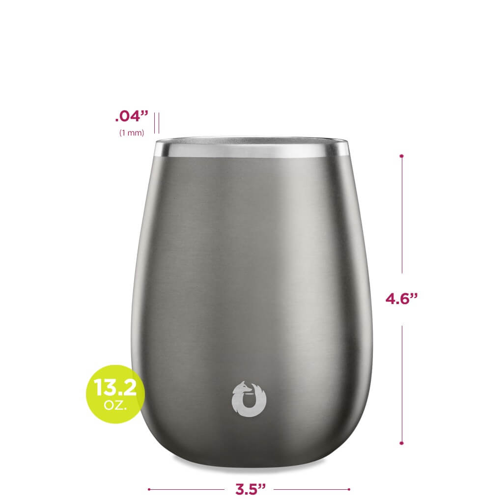 Stainless Steel Pinot Noir Wine Glass in Olive Grey - Dimensions