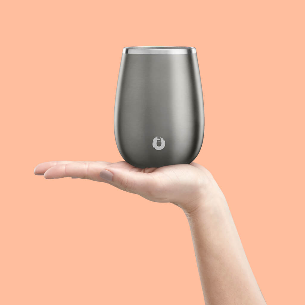 Stainless Steel Pinot Noir Wine Glass in Olive Grey - Perfect Fit