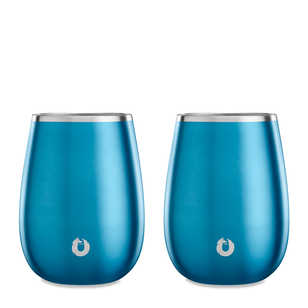 Stainless Steel Pinot Noir Wine Glass in Soft Blue - Set of 2