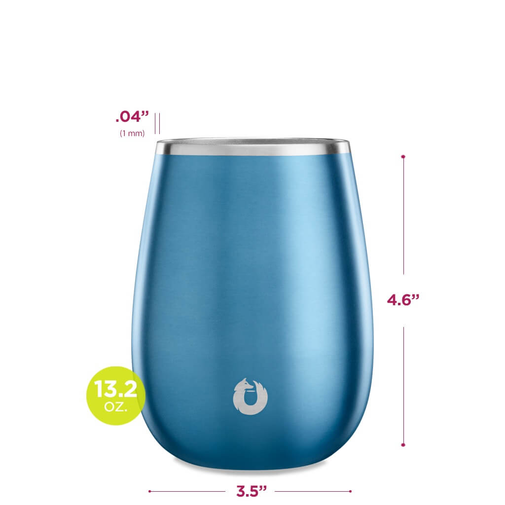 Stainless Steel Pinot Noir Wine Glass in Soft Blue - Dimensions