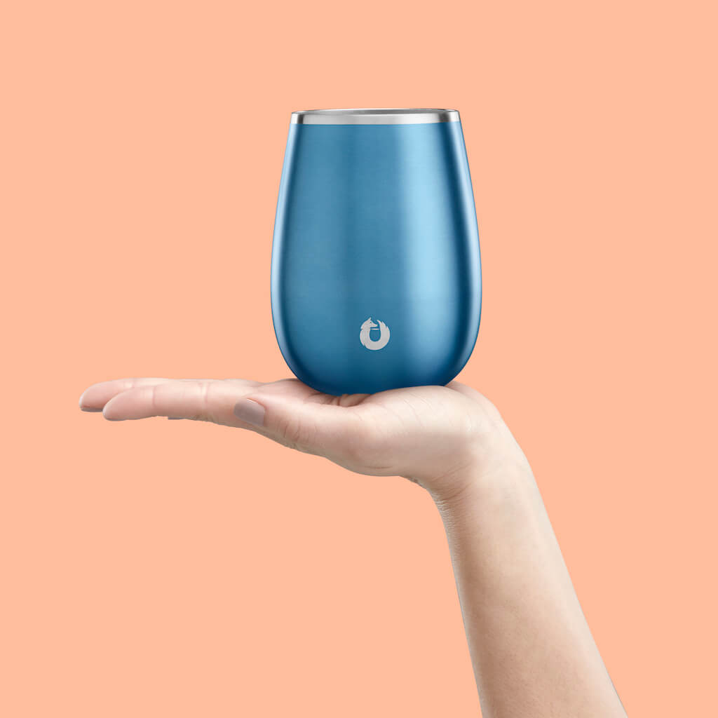 Stainless Steel Pinot Noir Wine Glass in Soft Blue - Perfect Fit