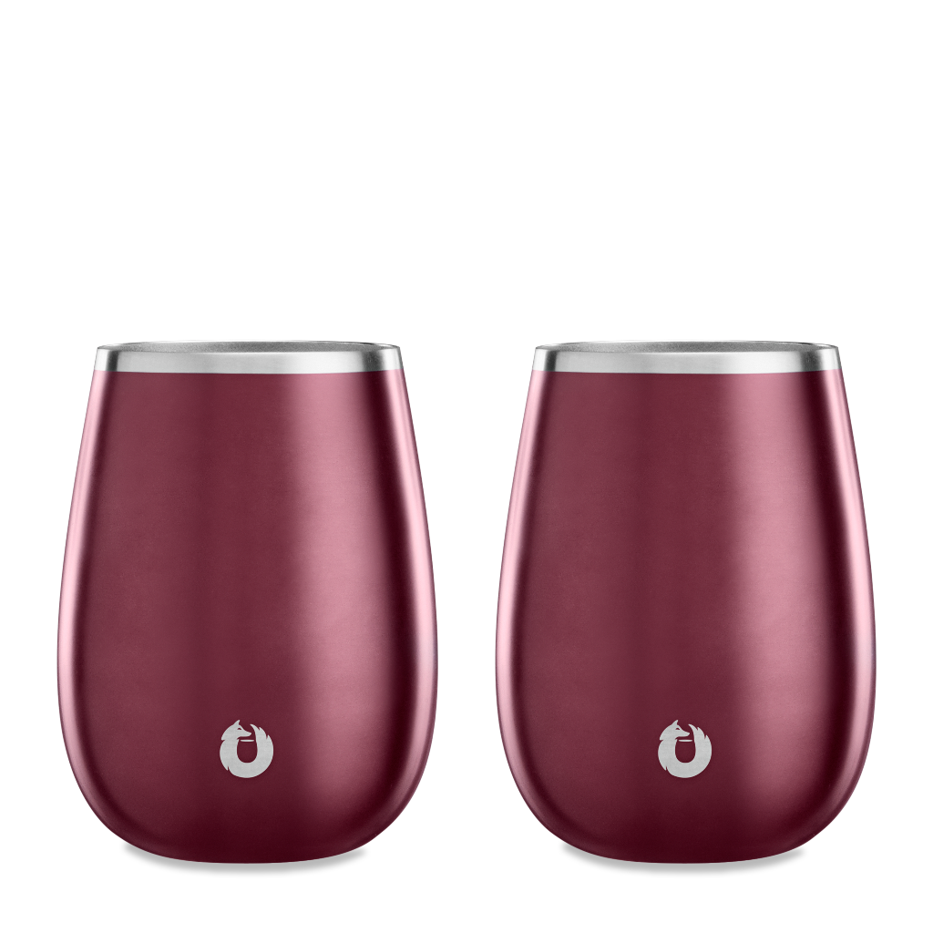Stainless Steel Pinot Noir Wine Glass in Dark Rose - Set of 2