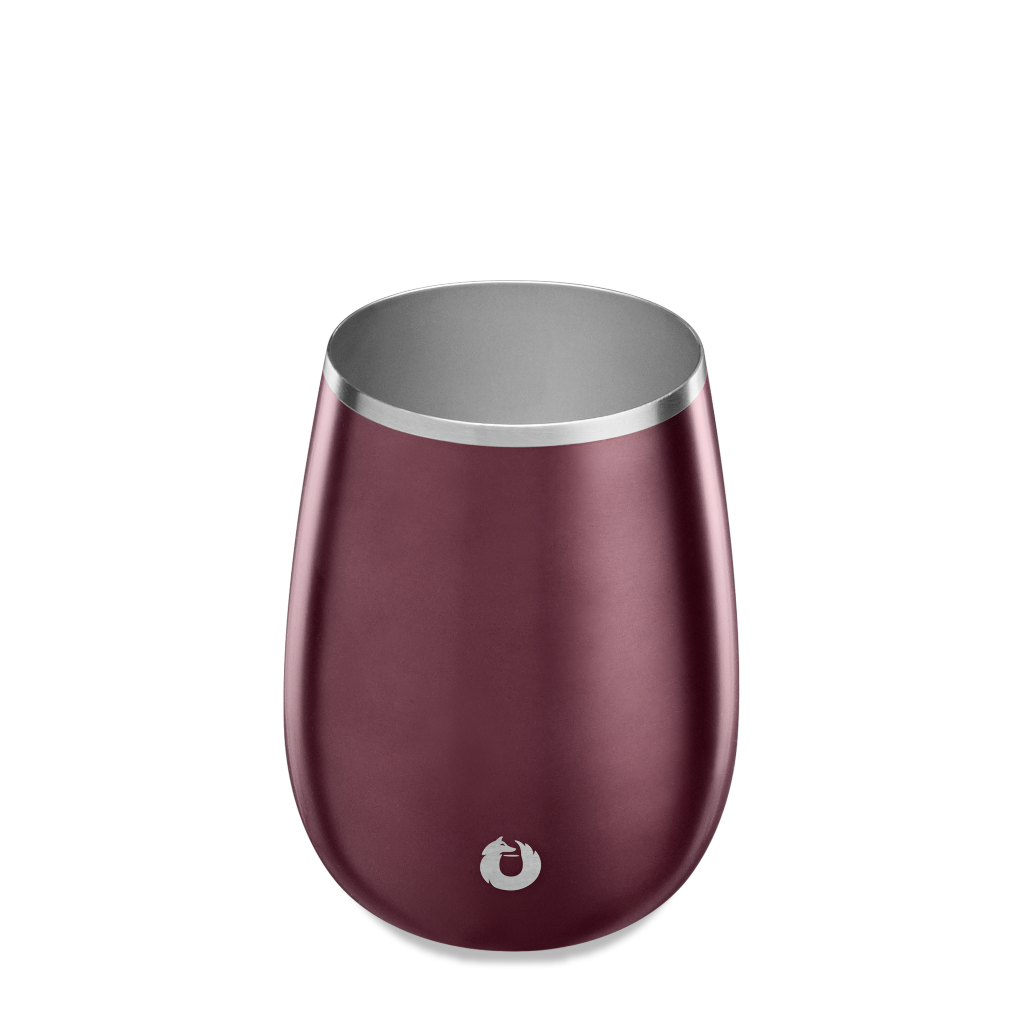 Stainless Steel Pinot Noir Wine Glass in Dark Rose - Top View